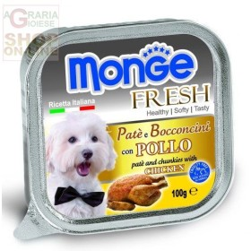 MONGE FRESH PATE AND SMALL CHUNKS FOR DOGS WITH CHICKEN GR. 100