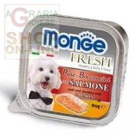 MONGE FRESH PATE AND SMALL CHUNKS FOR DOGS WITH SALMON GR. 100