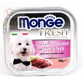MONGE FRESH PATE AND SMALL CHUNKS FOR DOGS WITH TUNA GR. 100
