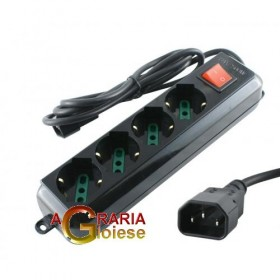 SCHUCO 4 BEEP MULTI-SOCKET WITH IEC PLUG SWITCH FOR CONTINUOUS GROUP