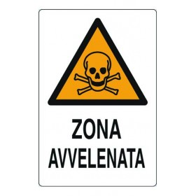 ALUMINUM SIGNAL SIGN FOR POISONED AREA MM.300X200