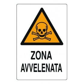 CARTELLO SEGNALE ALLUMINIO ZONA AVVELENATA MM.300X200