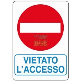 CARTELLO SEGNALE VIETATO ACCESSO MM. 300X200