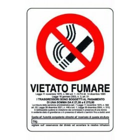 CARTELLO SEGNALE VIETATO FUMARE MM. 300 X 200