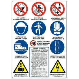 SIGN SIGN OF WORKS FOR CONSTRUCTION SITES WITH 12 SYMBOLS 88X68