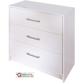 DRAWER WITH 3 DRAWERS IN SOLID PINE WHITE COLOR cm. 70x35x71H