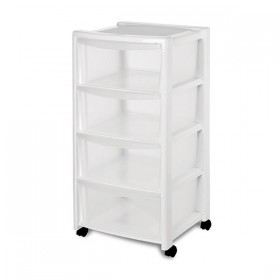 Free Drawer with 4 Compartments With Wheels in White Equipment cm. 40x40x80h.