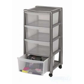 Free Drawer with 4 Compartments With Wheels in Silver Equipment cm. 40x40x80h.