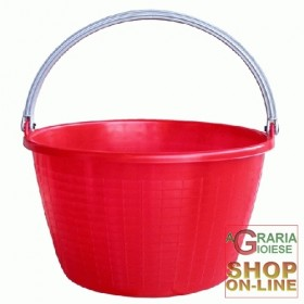 AGRICULTURAL RED ROUND BASKET FOLDING HANDLE LT. 16