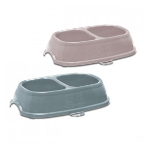 Break 13 plastic bowl for dogs and cats with Double Compartment cm. 21x13x5h.