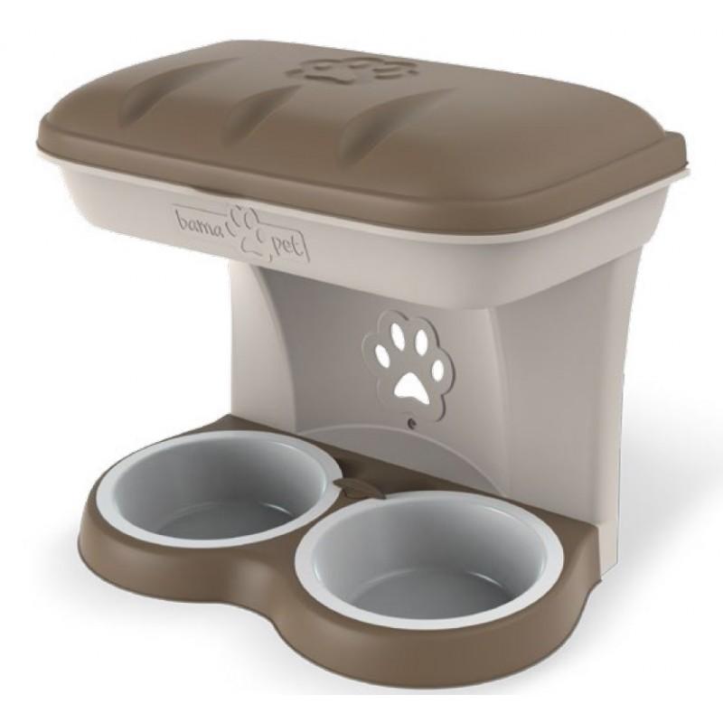 Ciotola per cani bama food stand colore tortora kit da appendere a parete.jpg