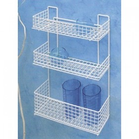 BATHROOM SHELF FILTEX WHITE FRONT 3 SHELVES SHOWER SHELF WITH COSMETICS HOLDER