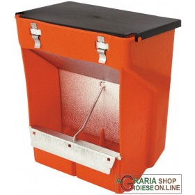 NOVITAL PLASTIC FEEDER FOR RABBITS WITH HOPPER WITH LID