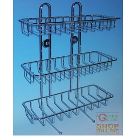 GRILLED SHELF IN GALVANIZED WIRE WITH 3 CHROME SHELVES FOR