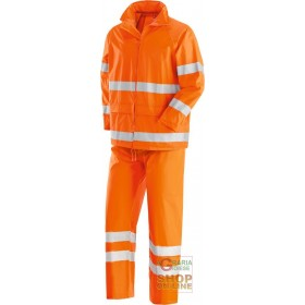 COMPLETE JACKET PANTS IN POLYESTER PVC WITH REFLECTIVE BANDS COLOR ORANGE SIZE ML XL XXL