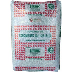 MINERAL FERTILIZER NPK 11.22.16 WITH LOW CHLORINE CONTENT KG. 25