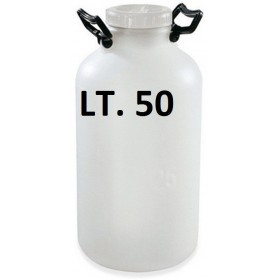 BOTTLE DRUM CONTAINER IN PLASTIC WITH WIDE MOUTH WHITE LT. 50