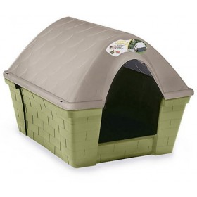 Dog kennel in resistant plastic Casa Felice Grande Light dove gray cm. 96x78x73h.