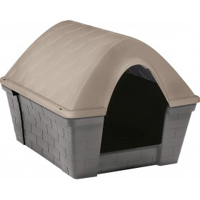 Dog kennel in resistant plastic Casa Felice Medium Light dove gray cm. 82x68x62h.