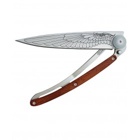 DEEJO WOOD 37G PADAUK WING FOLDING KNIFE STAINLESS STEEL BLADE CM. 20.5
