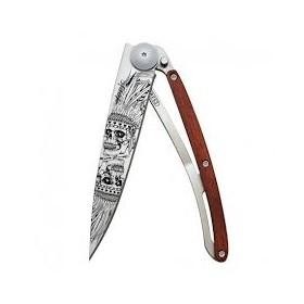 DEEJO WOOD TATOO 37G PADAUK LUCKY SKULL FOLDING KNIFE CM. 20.5