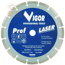 PROF-LAS SECTOR DIAMOND DISC WITHOUT FLANGE DIAM. MM. 230