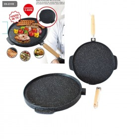 Double sided maxi grill pan in cast iron cm. 36 with removable