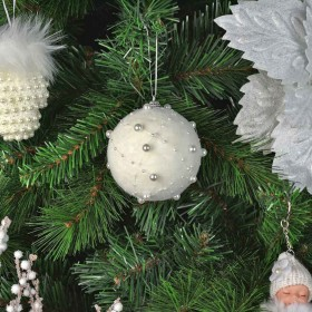 BALLS SPHERES FOR WHITE CHRISTMAS TREE WITH BEADS CM. 9 PCS. 6