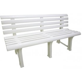BENCH IN RESIN OLIMPIA WHITE 9 SLATS cm.150x53x77h.