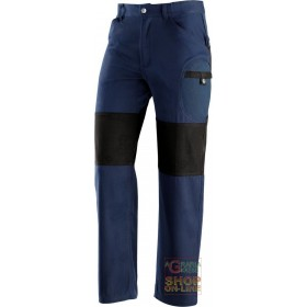 TROUSERS 60% COTTON 40% POLYESTER REINFORCEMENTS IN POLYESTER COLOR BLUE BLACK TG S XXL