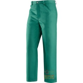 FIREPROOF TROUSERS IN 100% COTTON FABRIC GR 370 MQ GREEN COLOR
