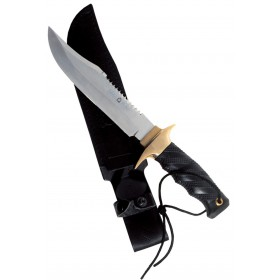 Paolucci Dagger with black handle stainless steel blade with saw with sheath cm. 14