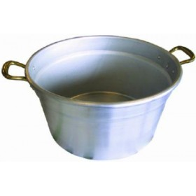 CALADAIA POT IN HEAVY ALUMINUM WITH BRASS HANDLES CM. 42
