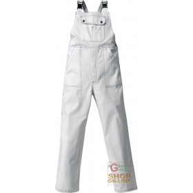 BIB 100% SANFORIZED COTTON GR 250 MULTIPOCKETS SEAMS IN CONTRAST COLOR WHITE TG S XXL