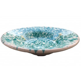 GREEN AND WHITE GLAZED CERAMIC PLATE MEDIUM CM. 40x9h.
