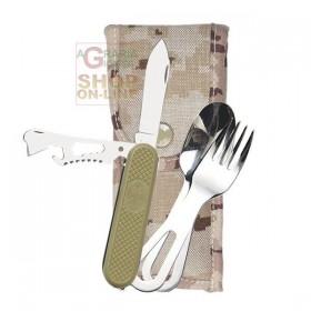 PIELCU SET SPOON, FORK AND MULTIPURPOSE KNIFE WITH CORDURA FOFERO MOD. 76016-103