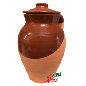 PIGNATA IN TERRACOTTA WITH 2 HANDLES AND LID cm. 14x18h.