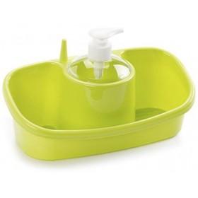 PLASTICFORTE LIQUID SOAP DISPENCER WITH SPONGES HOLDER