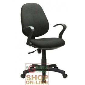 SWIVEL GAS ARMCHAIR WITH ARMS FOR OFFICE BLACK