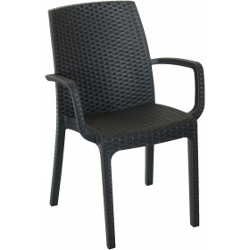 ARMCHAIR IN INDIAN SHOCK RESIN CM. 57x59x86h. ANTHRACITE COLOR