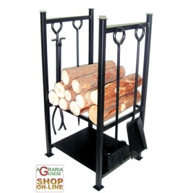 LOG HOLDER WITH 4 CASTLE TOOLS cm. 36x32x72h