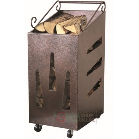 STEEL LOG HOLDER WITH WHEELS OPEN SQUARE CM. 32X42X80h