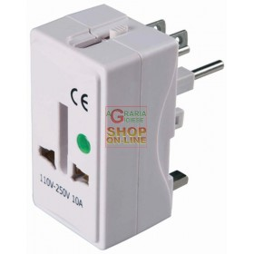 UNIVERSAL TRAVEL ADAPTER SOCKET 10A 2P WITH T