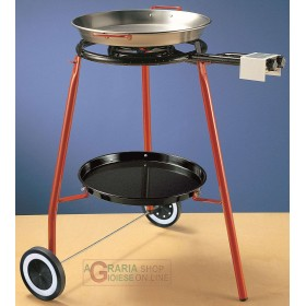 REBER KIT PAELLA CM. 42 INCLUDING STOVE SUPPORT THREE FEET WITH WHEELS AND PAN